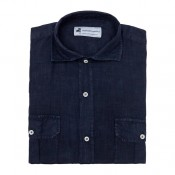 4 Pockets Dark Blue Guayabera