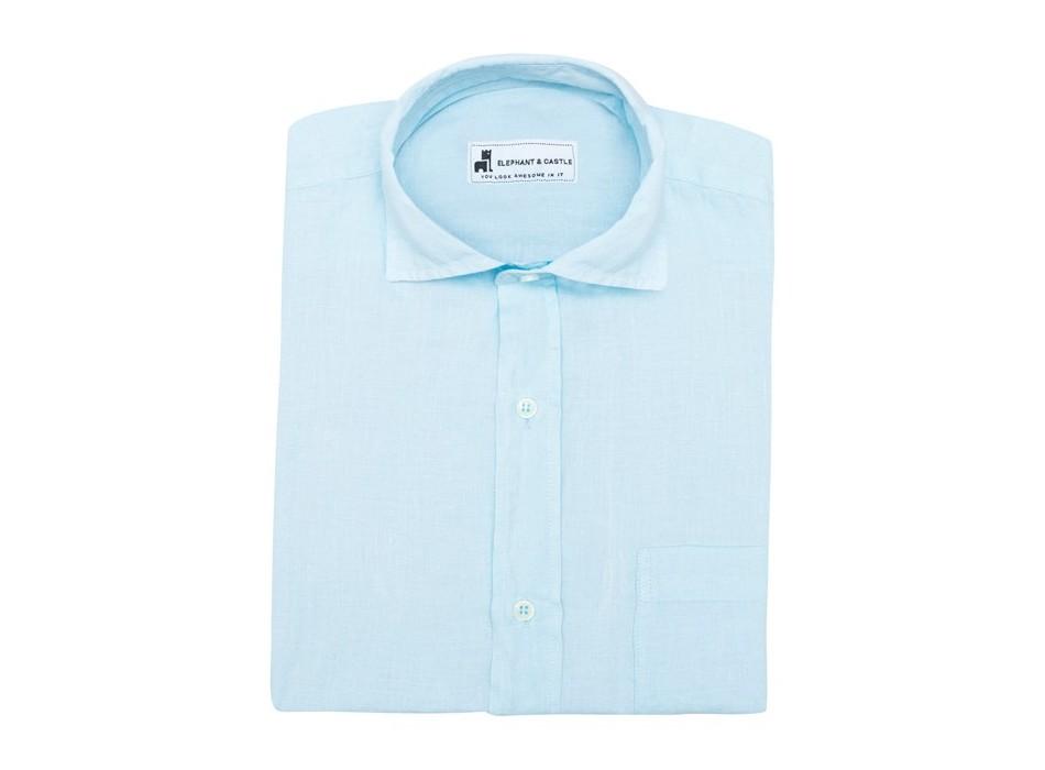 Camisa Lino Azul 1 Bolsillo