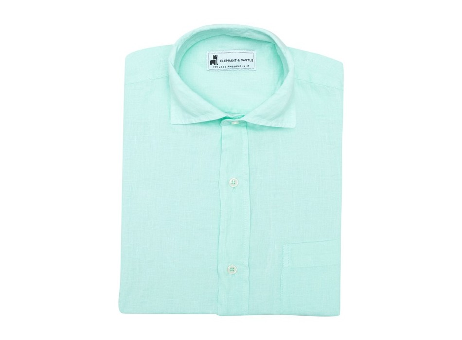 Camisa Lino Turquesa 1 Bolsillo